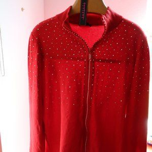 Red light weight sweater jacket